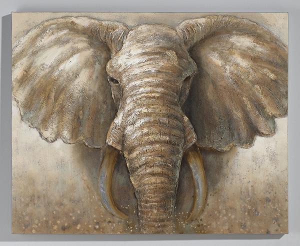 Wandgemälde Elefant (BHT 127x101x3,5 cm)