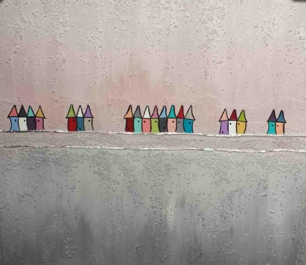 Bild abstrakte Häuser (LB 80x80 cm)