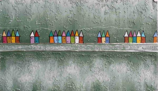 Bild abstrakte Häuser (LB 100x60 cm)