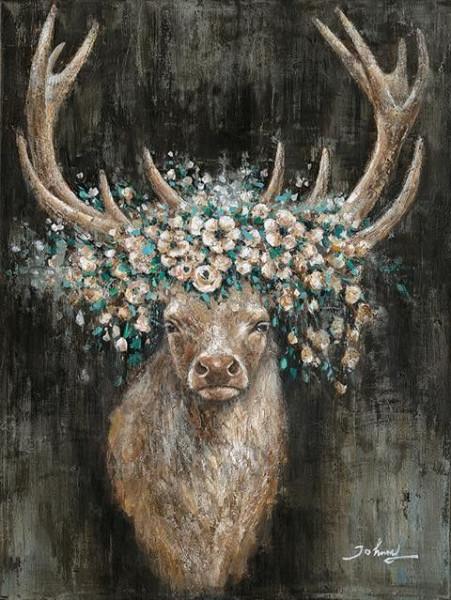 Ölbild Hirschkopf Blumen (BHT 90x120x5 cm)