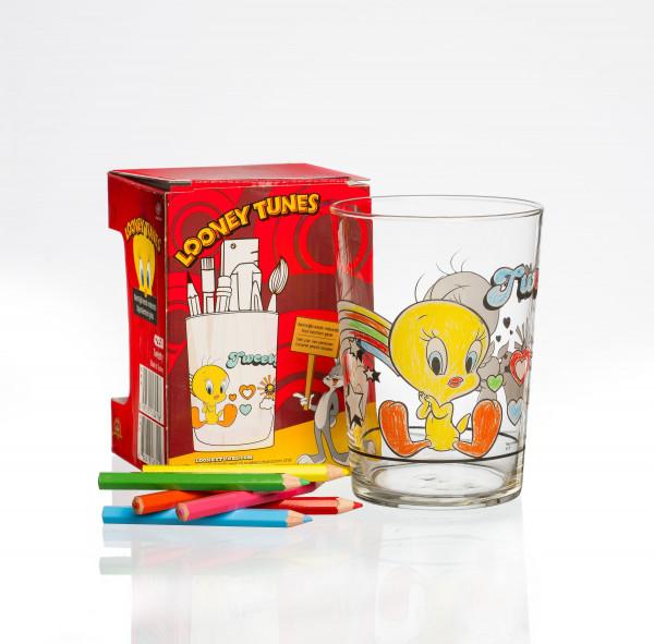 Trinkglas TWEETY bunt/klar
