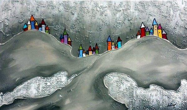 Bild abstrakte Häuser (LB 120x80 cm)
