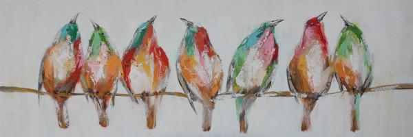 Ölbild Vögel auf Ast bunt (BHT 150x50x5 cm)