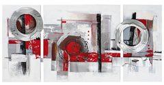 Abstrakt, rot und Metallkreis (BH 146x70 cm)